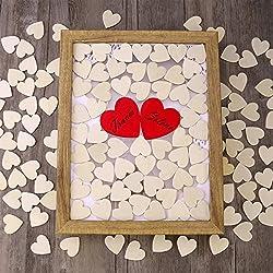 Homemaxs 130 Stück Herz Holz Scheiben enthalten 30mm hölzerne Herz-Form Scheiben (126 Stück) und 60mm rote Scheiben (4 Stück) für Hochzeit