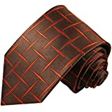 Cravate homme marron orange carreaux 100% soie