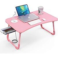 Elekin Table pour Ordinateur Portable Pliante Table de Lit avec Port USB et Fente pour Tasse pour Canapé/Lit, Rose