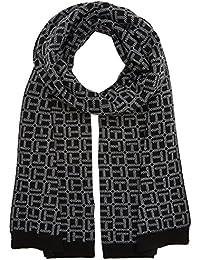 Tommy Hilfiger TH Monogram Knit Scarf, Bufanda para Mujer, Black, (Tamaño del Fabricante:OS)