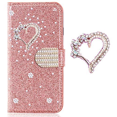 Preisvergleich Produktbild Bling Glitzer Sparkle Diamant Kartenfach für Samsung S10, Folio Wallet Leder Funkeln Glitzer Slim Schutzhülle Bumper Stand Card Slots Magnetverschluß