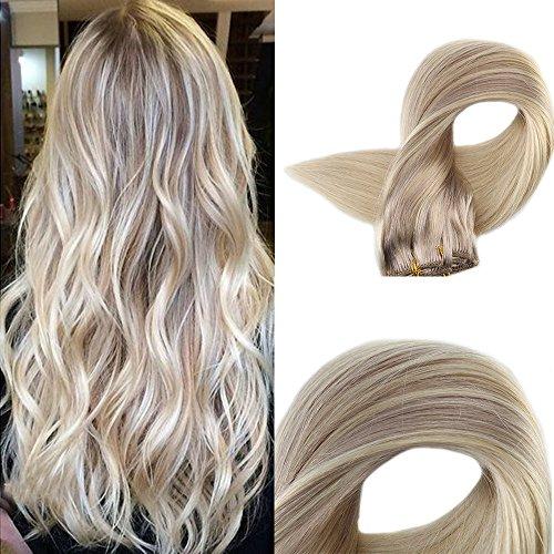 Full Shine 24 Zoll/60cm 9Pcs 120g/Set Nordisch Balayage Best Quality Menschliche Erweiterungen Human Remy Haar Asche Blonde Golden Blonde zu Licht Blonde Clip in Human Hair Extensions