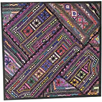 Mogul InteriorIndian New Multicolor Tapestry Wall Hanging Patchwork Purple Sari Throw pillow cover 18x18