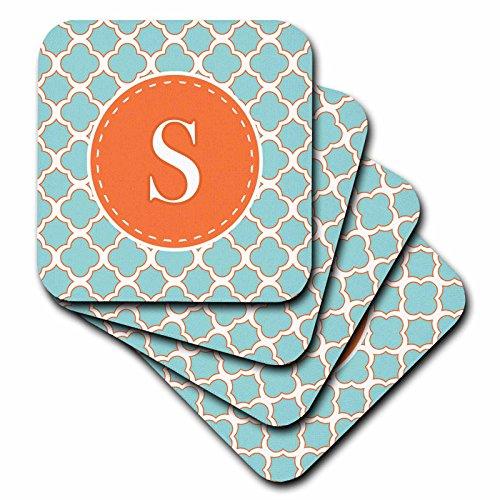 Janna salakpalme Designs Kollektion Monogram–Buchstabe S Monogramm orange und blau Vierpass-Muster–Untersetzer, Gummi, Orange, set-of-4-Soft