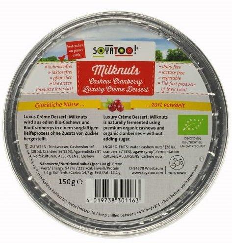 Soyatoo MilkNuts Cashew Cranberry Creme Dessert - 150 g Bio, laktosefrei, vegan