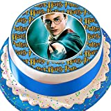 Harry Potter Zauberstab, mit Blue Border Birthday vorgeschnittenen Essbarer Zuckerguss Kuchen Topper Dekoration