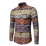 Herren Hemd T-shirt,Sannysis Herrenhemd Baumwolle Langarm-Shirt Jeanshemd Business Slim Fit Shirt Freizeithemd Langarmhemd Denim Hemden Tops (2xl, Gelb)