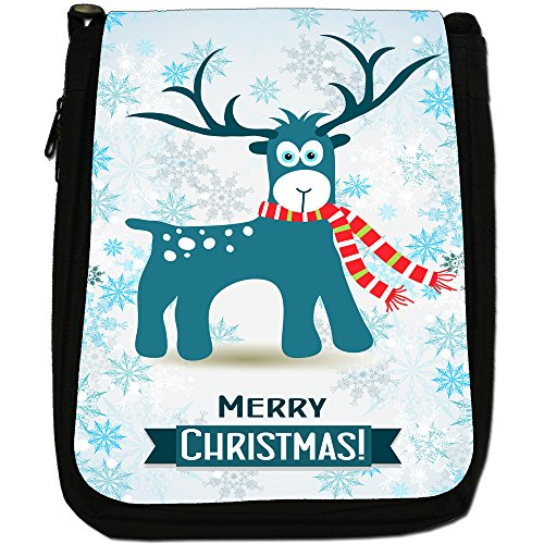Winter Wonderland fiocchi di neve animali Medium Nero Borsa In Tela, taglia M Reindeer In Red White Scarf