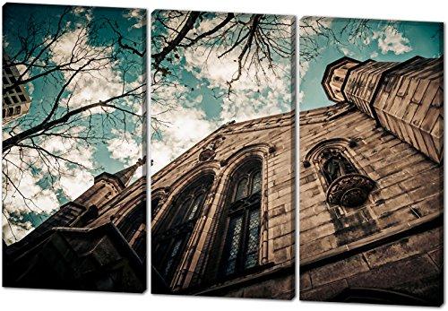 Kirche, Gemälde Effekt, schönes und hochwertiges Leinwandbild zum Aufhängen in XXL - 3 Teiler mit 120cm x 80cm, echter Holzrahmen, effektiver Pigmentdruck, modernes Design für Ihr Büro oder Zimmer