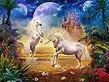 Liphisfun Attività per fai da te, quadro da decorare con pietre, decorazione a mosaico, quadro con unicorni e farfalle (30x 40cm), 06, 30 x 40 cm