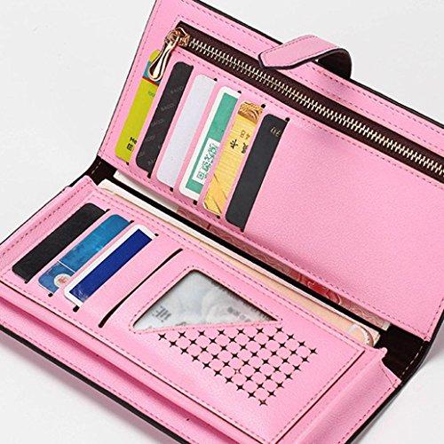 Portafoglio Donna, Tpulling Grande borsa di supporto della carta del raccoglitore della frizione della frizione di cuoio di grande capacità per le donne (Pink) Pink