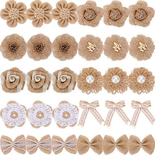 30 Stück Handgefertigte Natürliche Sackleinen Blume Rustikale Spitze Rose Blume Natürliche Bowknot Faux Perle Blume Schnur Band für DIY Handwerk Bouquets Hochzeit Party Home Dekorationen, 10 Stil