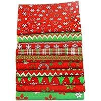 10 telas rojas Navidad y multidiseño para patchwor, calendario adviento, manualidades, costura, scrapbooking, Papa Noel adornos Nochebuena, muñecos de trapo, guirnaldas cojines..20 x 50 cm .de OPEN BUY