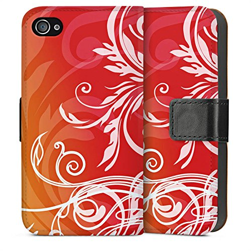 Apple iPhone 4 Housse Étui Silicone Coque Protection Fleurs Fleurs Guirlandes de fleurs Sideflip Sac