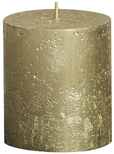 Vela cilíndrica de parafina, metálico, tamaño 8 cm, color dorado
