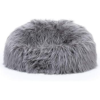 icon Classic Mongolian Faux Fur Bean Bag Chair - Charcoal Grey ea408fd571ef6