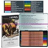 Lyra Germany Lot de 12 Crayons Rembrandt Polycolor de Couleurs Assorties pour Artistes, en Boite métal