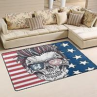 Yibaihe, Leicht, Bedruckt Mit Deko Teppich, Teppich, Modern Skull Mit Der  Amerikanischen Flagge Sonnenbrille, Wasserabweisend Stoßfest.