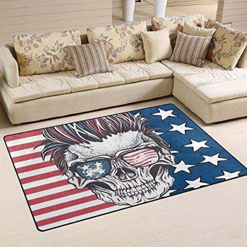 yibaihe, leicht, bedruckt mit Deko-Teppich, Teppich, modern Skull mit der amerikanischen Flagge Sonnenbrille, wasserabweisend stoßfest. Für Wohn- und Schlafzimmer 80x 51cm