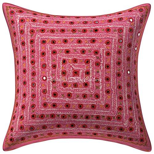 Stylo Culture Indisch Baumwolle Ethnische Kissenbezug gestickten Spitze Spiegel 40 x 40 Zierkissenbezüge rosa geometrischen Kissenbezug