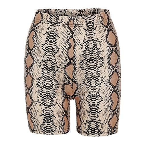 Shorts Damen Sommer Serpentine Druck Slim Fit Mode Hotpants Frauen Skinny-Hosen Kurze Leggings Sport Freizeithose Radfahren Short Pants, Brown -
