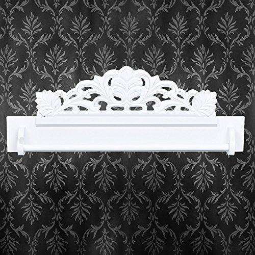 neu.holz Barra appendiabiti corium in stile shabby chic - (bianco) Asta appendiabiti per ganci per vestiti/decorata / Attaccapanni per il corridoio/Appiglio per ganci appendiabiti