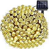 LE Guirnalda de Luces Solar 200 LED 20m 8 modos Blanco cálido, Sensor de luz, luz de ambiente para exteriores, fiestas luces de navidad