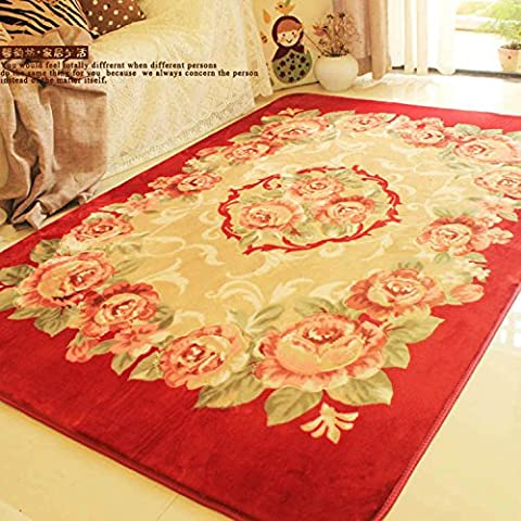 Fiore ricco stile europeo giardino Tavolino soggiorno tappeto tappeti divano letto den pavimentazione del balcone , brown waratah , 190*240 cm