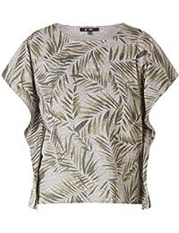 d00f571e243282 X-Two Yest Oversize Damen Shirt Blätter in Grün Kurzarm T-Shirt Große Größen