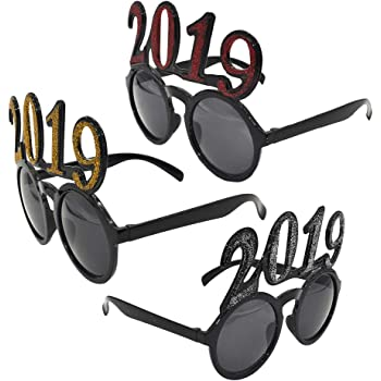 3c8b52069d BESTOYARD 3Pcs Happy New Year 2019 Glasses Photo Booth Props Christmas New  Years Eve Graduation Party