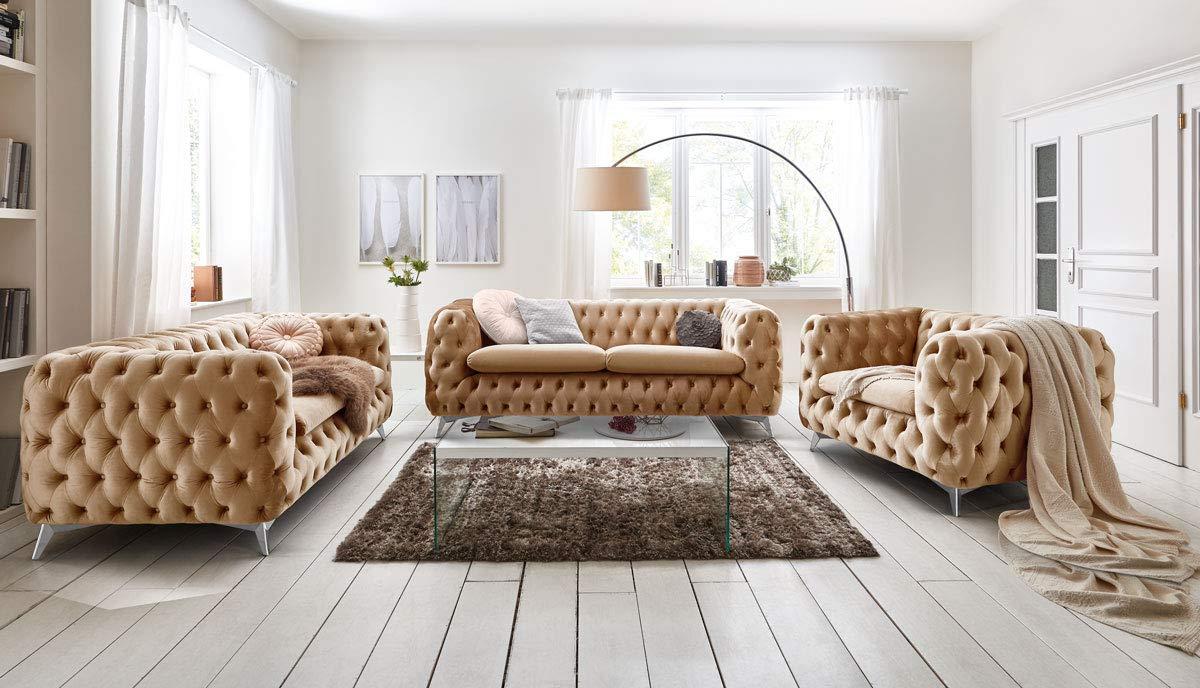 Chesterfield Sofa Couch Stoff Samt 3 Sitzer 2 Sitzer Sessel 1 Sitzer Designer Möbel Emma (1-Sitzer, Beige) 4