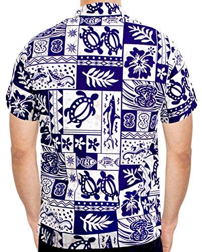LA LEELA Shirt Camicia Hawaiana Uomo XS - 5XL Manica Corta Hawaii Tasca-Frontale Stampa Hawaiano Casuale Regular Fit Blu Reale993 Blu