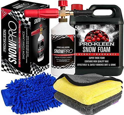 Pro-Kleen Snow Foam Lance Gun Kit + Lance For Use With Karcher K Series K2, K3, K4, K5, K6 and K7 + 5L Cherry Snow Foam Shampoo and Microfibre Wash Pad Mitt and Microfibre Cloths