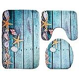 Moolecole Badematte, Strand, Seashells Starfish Sand Urlaub Sommer Weiche French Samt Badezimmer Teppich Teppich Anti-Rutsch 3 Stück Badematte Set Starfish Floor