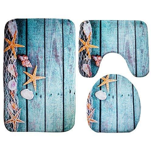 Moolecole Badematte, Strand, Seashells Starfish Sand Urlaub Sommer Weiche French Samt Badezimmer Teppich Teppich Anti-Rutsch 3 Stück Badematte Set Starfish Floor (Urlaub Teppiche)
