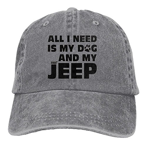 All I Need Is My Dog and My Jeep Adjustable Washed Cap Cowboy Baseball Hat Ash (Hat Dog Tag)