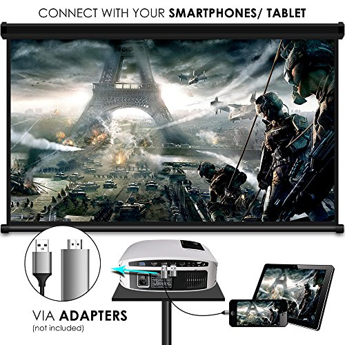 61KQfTdb6DL. SS500  - ELEPHAS Projector, 5000 Lumens HD Video Projector 200'' Home Cinema LCD Movie Projector Full HD 1080p HDMI VGA Av USB Ideal for Home Entertainment Party Games, White