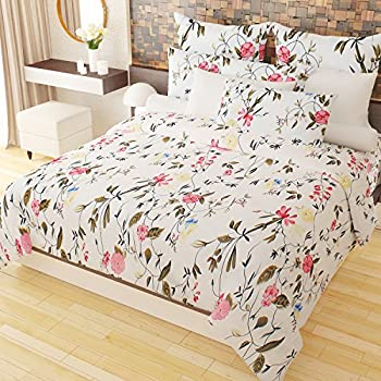 Home Candy Colorful 152 TC 3-D Double Bedsheet with 2 Pillow Covers - Floral, Multicolour