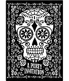 erdbeerloft - 8 Einladungskarten Sugar Skull Totenfest Muerte 9,5 x 13,5 cm, Schwarz Weiß
