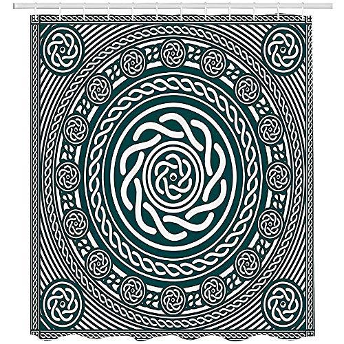 Duschvorhänge, Celtic Decor Collection,St. Patrick's Day Theme Celtic Knots Lucky Clover Design Pattern Irish Decorations Print,Polyester Fabric Bathroom Shower Curtain Set,Green White (Zebra-print Dusche Vorhang-set)