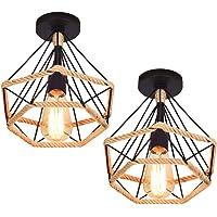 Lot de 2 Luminaire Plafonnier Industriel, iDEGU Lustre Vintage Abat-jour Cage Diamant en Métal et Corde de Chanvre Lampe…