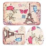 ddanke Badezimmer Set 3mit Vorleger Teppich Deckel WC-Deckelbezug Badteppich (Pink Rose + Schmetterling + Eiffel Tower Pattern)