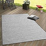 Paco Home Tappeto Tessitura Piatta da Esterno E Interno Tappeti Terrazze Sfumatura Grigio, Dimensione:140x200 cm
