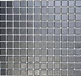 Mosaik-Netzwerk Mosaikfliese Quadrat uni schwarz rutschhemmend R10B Keramik rutschsicher trittsicher anti slip rutschfest Duschtasse Boden Küche Bad WC, Mosaikstein Format: 2,5x2,5x6 mm, Bogengröße: 330x302 mm, 10 Bögen