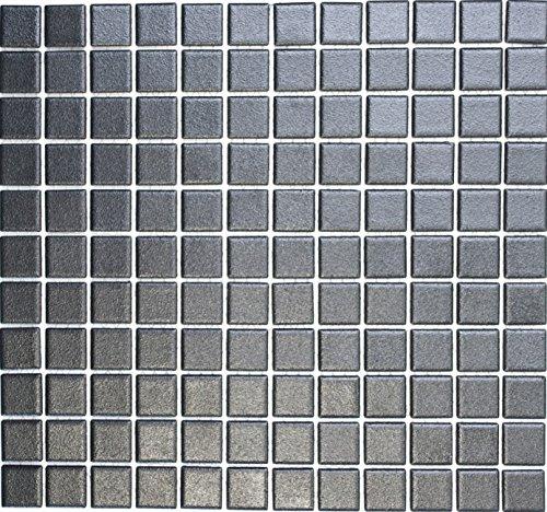 Mosaik-Netzwerk Mosaikfliese Quadrat uni schwarz rutschhemmend R10B Keramik rutschsicher trittsicher anti slip rutschfest Duschtasse Boden Küche Bad WC, Mosaikstein Format: 2,5x2,5x6 mm, Bogengröße: 330x302 mm | 10 Mosaikmatten