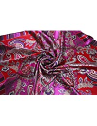 Nella-Mode Elegantes Hochwertiges SEIDENTUCH in Rot & Lila, PAISLEY-DESIGN, 87x87 cm Handrolliert