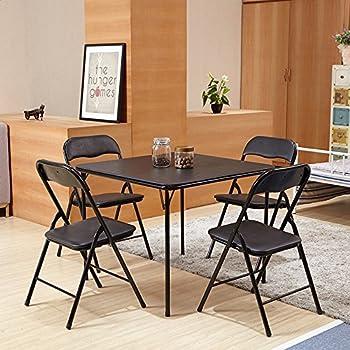 FurnitureR 5 Pcs Folding Dining Table And Chairs Set Metal Frame Kitchen Dining  Set Black