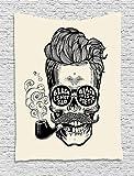 Tapiz indio, Hipster Gentleman calavera con tubo de bigote y gafas con inscripción Vintage, colgante de pared para dormitorio, salón, dormitorio, 40 W x 60 l, color negro crema