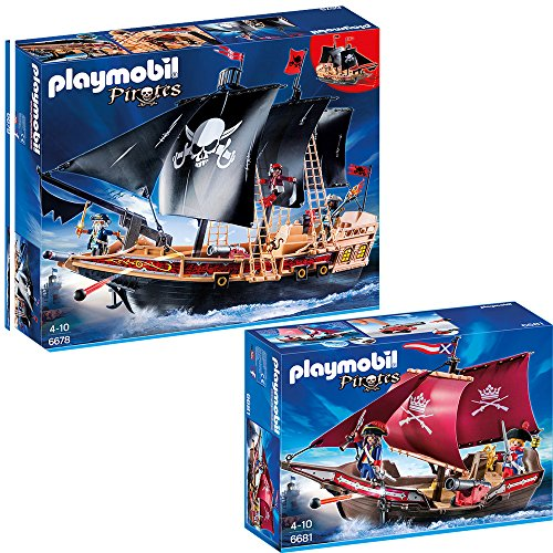 PLAYMOBIL® Piraten 2-tlg. Set 6678 Piraten-Kampfschiff + 6681 Soldaten-Kanonensegler