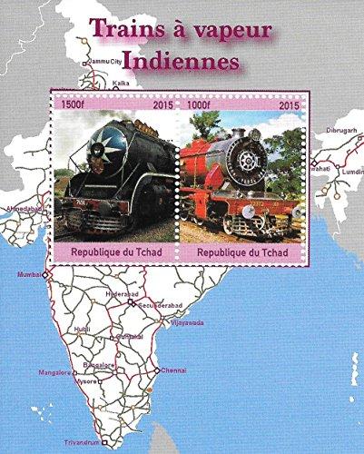 Francobolli da Collezione - Steam Trains indiani MNH Foglio miniatura / Ciad / 2015